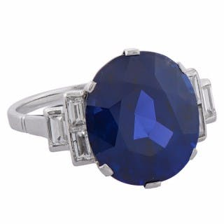 11.82 Carat Burmese Sapphire Diamond Platinum Engagement Ring