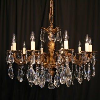 An Italian 10 Light Gilded Antique Chandelier