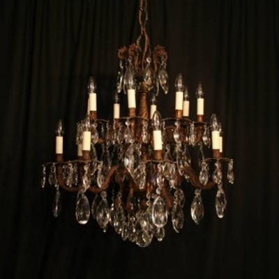 A Large Italian Gilded 16 Light Antique Chandelier