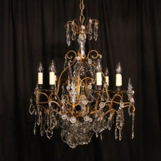 A French 8 Light Cage Antique Chandelier