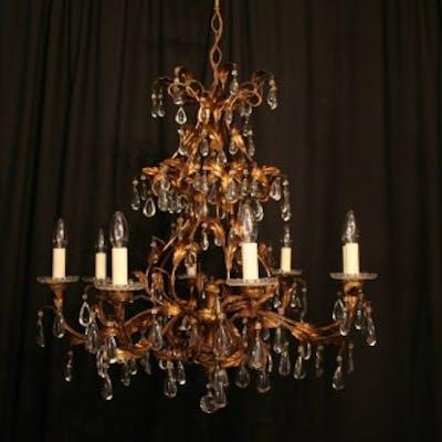 A Florentine Gilded 8 Light Antique Chandelier