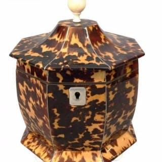 Regency Tortoiseshell Pagoda tea caddy