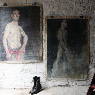 Two Large Mid 20thC Oil on Canvas Male Nude Studies by Sidney Horne