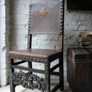 A Decorative 17thC Spanish Walnut Baroque Period Side Chair