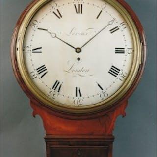 A fine Regency trunk dial wall clock in a mahogany case by LEROUX, London c1800