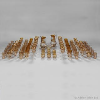 Bohemian, Amber Flash, Cut-Glass Eighty-Five Piece Table Service