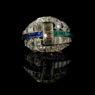 Sapphire and emerald Art Deco ring