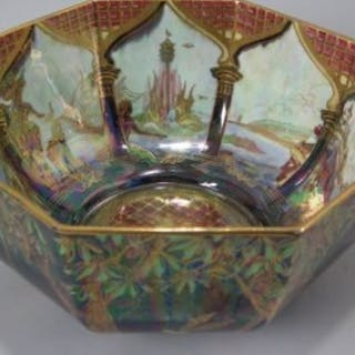 Wedgwood Fairyland Lustre Octagonal Bowl -'Fiddler in Tree'
