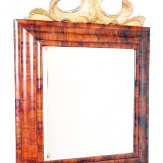 Antique 17th Century Walnut Cushion Framed Mirror