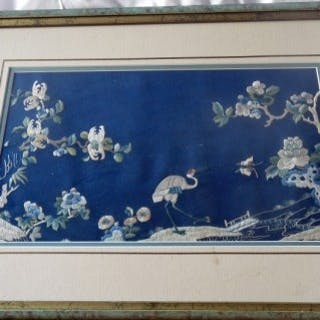 Chinese Antique Silk Panel from a Chair Back