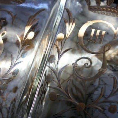 A Beautiful Pair of c.1800 Swedish Glass Flasks 'Brännvinsflaskor