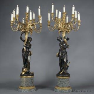 'Les Grands Faunes' - Pair of Bronze Figural Candelabra