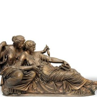 A bronzed group of the Two Fates by Barbedienne