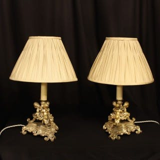 A French Silver Gilded Cherub Table Lamps