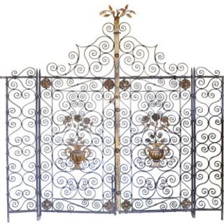 A pair of early 20th century Continental wrought iron and toll work