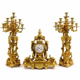 A large Louis XVI style ormolu clock set by F. Barbedienne