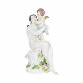 An 18th Century Meissen porcelain group of Venus and Cupid