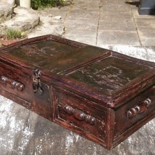 17th Century Early Elm Bible Box