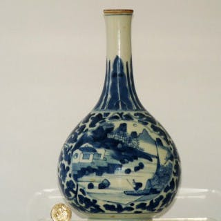 Transitional / Kangxi Blue and White Porcelain Bottle Vase