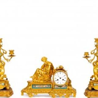 A Sèvres style porcelain mounted ormolu three piece clock set by Raingo Frères