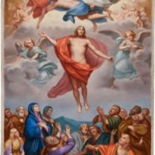 An exceptional Meissen porcelain plaque of 'The Ascension of Christ'