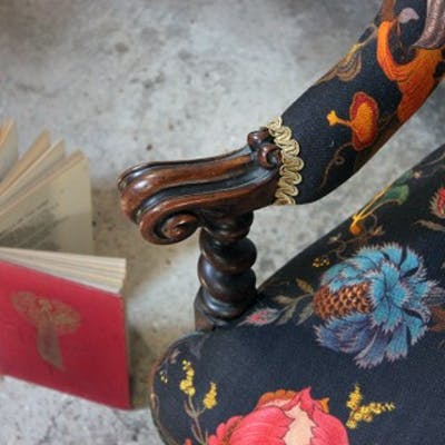 A Striking Victorian Walnut Horseshoe-Back Upholstered Armchair c.1870