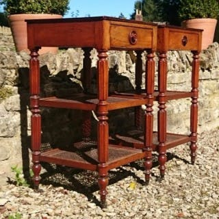 Pair Of Mahogany Antique Étagères / Lamp Tables / Bedside Tables