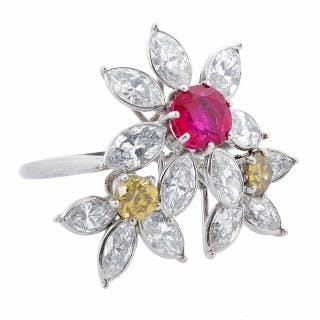 Burmese Ruby and Fancy Yellow and White Diamond Ring Monture Cartier