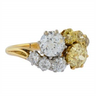 Gold Fancy Yellow Diamond and White Diamond Crossover Ring