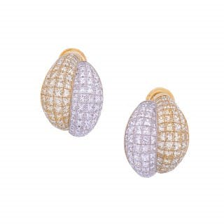 Pair of 'Double Boule' Diamond and Gold Ear Clips
