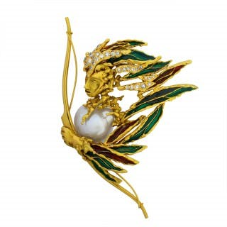 Gold, Enamel, Diamond, and Pearl Archer Brooch by Sterlé