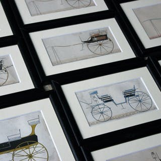 A Scarce & Decorative Group of Twelve Framed c.1860s Coach Building
