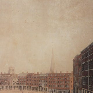 A Perspective View of Nottingham Market Place; A Hand-Coloured Aquatint