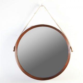 An Italian 1970s Circular Wooden Mirror