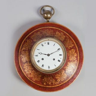 Red Japanned Tole Charles X Bullseye Clock