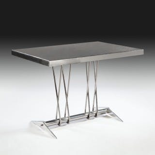 French Modernist Polished Steel Centre Table - Jean Prouve