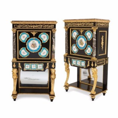 Pair of Victorian ormolu, marble and porcelain secretaires