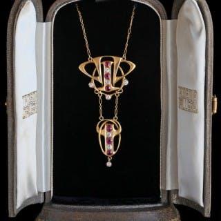 Rare Liberty & Co Necklace, Ruby & Diamond