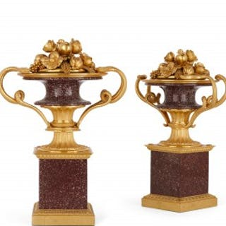 Pair of ormolu and porphyry French antique cassolettes