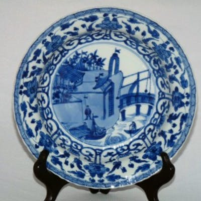 Kangxi Moulded European subject blue and White Plate