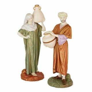 Pair of Royal Worcester porcelain Orientalist style figures