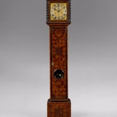 A rare Charles II parquetry longcase clock of small proportions, by