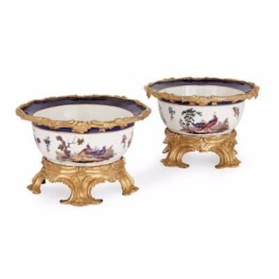 Pair of ormolu mounted Sèvres porcelain jardinières