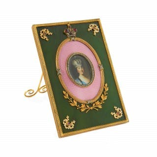 Russian Fabergé style silver gilt, enamel and nephrite frame