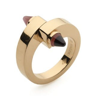 Cartier 18ct rose gold and cabochon garnet Menotte ring