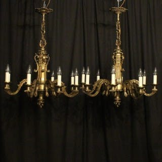 French Pair Of Bronze 8 Light Chandeliers