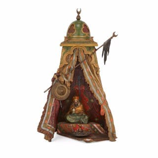 Viennese cold painted bronze Orientalist lamp by Bergman