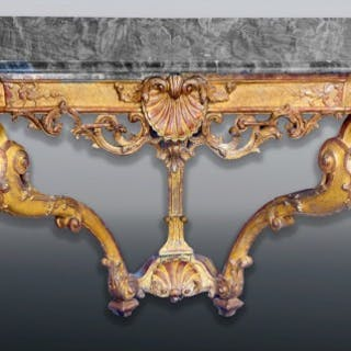 A fine mid 18th century Italian carved giltwood Console Table, Florence