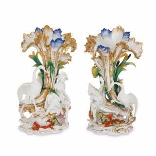 Pair of antique glazed biscuit porcelain figural vases