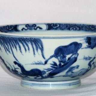 Kangxi Blue and White Bowl with the Horses Of Mu Wang